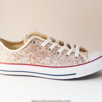 Champaign Gold Sequin Canvas Converse Canvas Low Top Sneakers Shoes