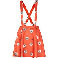 River Island Womens Red daisy print dungaree skater skirt