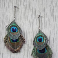 Peacock Feather Earrings by ArtisanTree