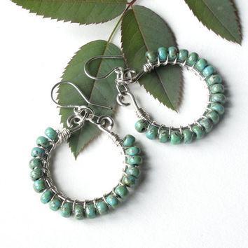 Turquoise silver earrings - wire wrapped hoops -  Picasso Czech glass beads