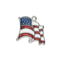Waving American Flag Military Charm ADD ON