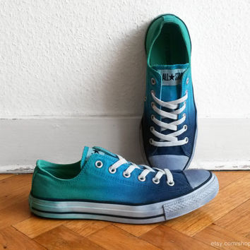 Ultramarine green & blue ombre Converse, dip dye upcycled vintage sneakers, All Stars, Chucks, eu 41.5 (uk 8, us wo 10, us men's 8)