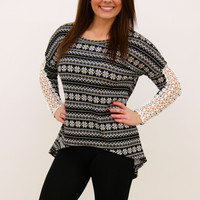 Snowflake Top with Lace Sleeves