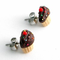 Chocolate sprinkle vanilla cupcake stud earrings