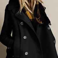 Black Wool Double Breasted Long Sleeve Button Front Peacoat Jacket Coat