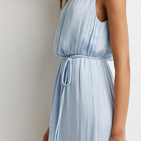 Belted Satin Maxi Dress