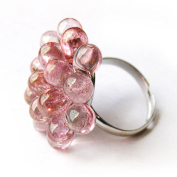 Sakura Berry Cluster Ring - Limited Edition Small Cocktail Ring, Soft Pink Funky Ring, Gift for bff, Rose Bubbly Ring - LAST TWO