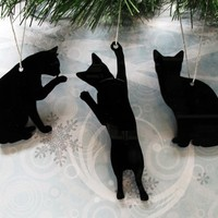 Cat Silhouette Ornaments, Christmas tree decorations cat lover kittens