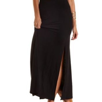 Black Double Side Slit Maxi Skirt by Charlotte Russe