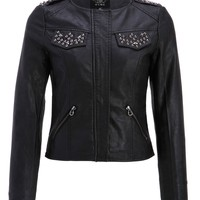 Pretty Attitude Womens Black Punk Biker Star Studded PU Leather Slim Fit Moto Jacket