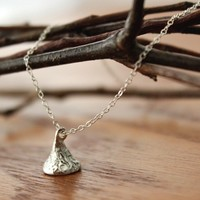 Supermarket: Kiss Chocolate Style Charm on Delicate Sterling Silver Chain Necklace - Delicate Simple Modern Jewelry - KISS KISS KISS by 5050 Studio from 5050 Studio
