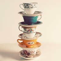 Tea Cups Photograph, Have A Cup, Kitchen Decor, Still Life Photography, Vintage Teacup Stack Photo, Fine Art Photograph