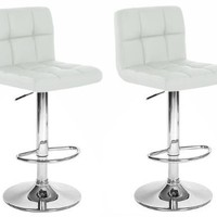 King's Brand 9101W Air Lift Adjustable Swivel Bar Stool with Chrome Finish, Set of 2, White
