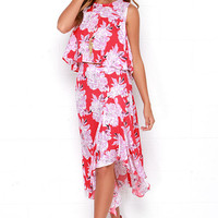 Bouquet Girl Hey! Coral Red Floral Print Two-Piece Dress