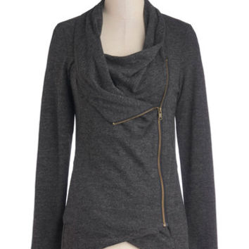 ModCloth Travel Mid-length Long Sleeve Airport Greeting Cardigan in Charcoal