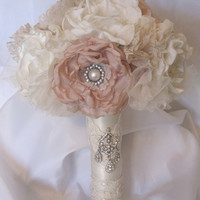 Custom Order  Wedding Bouquet Vintage Inspired Fabric Flower  in  Ivory and Champagne with Pearls, Rhinestones and Lace        SAMPLE ..SOLD