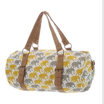 Lucky Elephant Canvas Duffel Bag Cute Travel Bag Cute Elephant Summer Bag - By PiYOYO