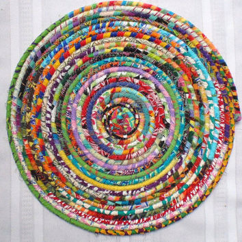Bohemian Coiled Multicolored Mat, Chair Pad, Hot Pad, Trivet, Placemat - EXTRA LARGE ROUND