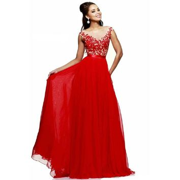 Promplan Red Lace Chiffon Full Length Long Prom Dresses 06