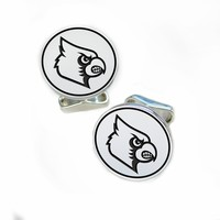 High Quality Louisville Cardinals Sterling Silver Cufflinks. Collegiate Jewelry