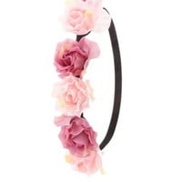 Pink Combo Two-Tone Rose Flower Crown by Charlotte Russe