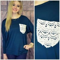 Manchester Teal Lace Pocket Top