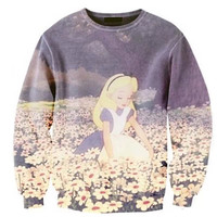 Alice sweatshirt Alice in wonderland clothing Kawaii Alice Vintage Alice All over print sweatshirt Pastel sweatshirt Disney Oversized