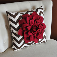 Cranberry Dahlia on Brown and Natural Zigzag Pillow by bedbuggs
