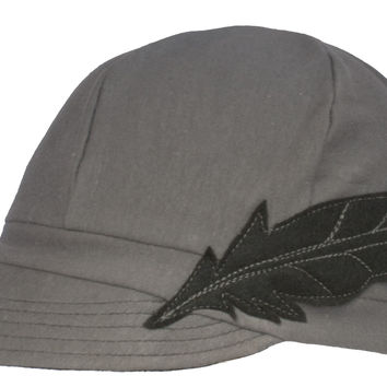 Flipside Upcycled Hats - Gray w/ Black Feather