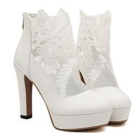 Elegant Women's Short Boots With Lace and Chunky Heel Design