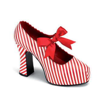 VINTAGE Red and White Stripe Shoes