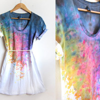Splash Dyed Hand PAINTED Scoop Neck Pinned Rolled par twostringjane