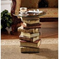 Design Toscano NG32069 Power of Books Sculptural Glass-Topped Small