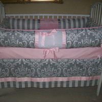 Grey and Pink  Baby Bedding Set