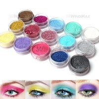 15 Warm Color Glitter Shimmer Pearl Loose Eyeshadow Pigments Mineral Eye Shadow Dust Powder Makeup Party Cosmetic Set #C