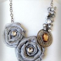 Gray Chiffon Flower Necklace by VartJewelry on Etsy