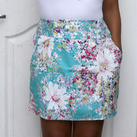 Turquoise Floral Mini Shirred Skirt with 2 side by LoNaDesign