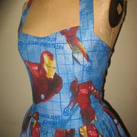 Custom Made to Order Iron Man Avenger Super Hero SweetHeart Ruffled halter mini Dress