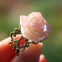 Virgo special: Box Vintage rose ring, bronze filigree ring, romantic pink fashion flower resin jewellery accessory handmade