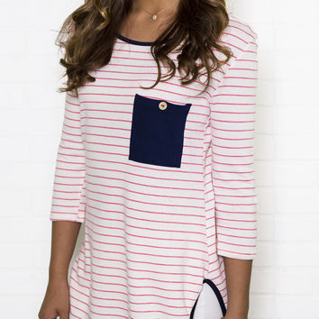 In The Details Pink Stripe And Navy Top