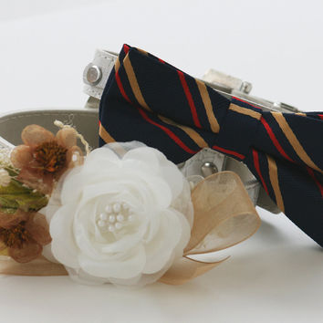 Gold and White Wedding Dog Collars - Bridesmaid & Best Man -  Navy Gold bowtie- Wedding dog collars