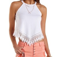 Crochet-Trim Racer Front Crop Top by Charlotte Russe