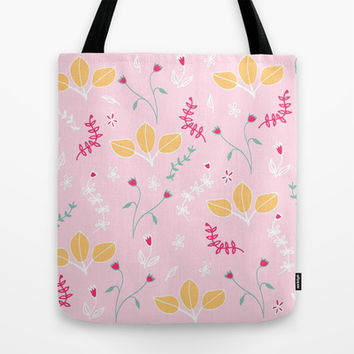 Pink Flowers, Orange Leaves Floral Pattern Tote Bag by Karin Lauria