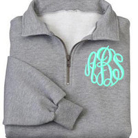 Monogrammed Sweatshirt - Quarter Zip Pullover by Mad About Monograms - 4 Colors