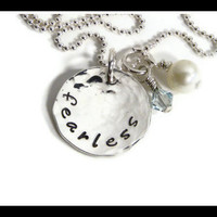 sterling silver hand stamped Fearless by Sapphire9Jewelry on Etsy