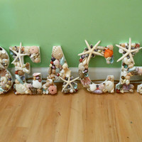 Beach Shell Letters - Seashell letters - Beach Sign
