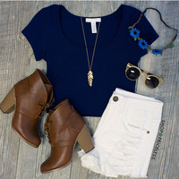 Lucy Basic Crop Top - Navy