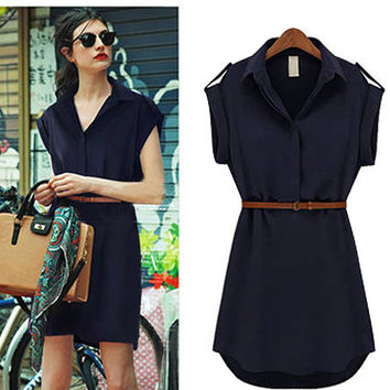 Turn-down Collar Chiffon Shirt