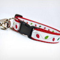 """Cat Collar - """"Christmas Lights"""" - Holiday String Lights on Red"""