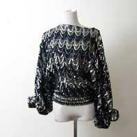 1980s Sequin Top Silver Black XS S Vintage by BlytheHopesVintage